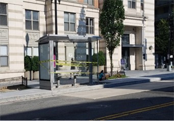 Bus shelter installed by Clear Channel on 7/12/19