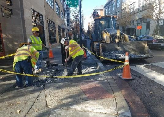 Sidewalk repair by D.E.N. at 14th & Church St