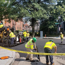 Asphalt paving at the intersection of 14th St. NW & Rhode Island Ave.