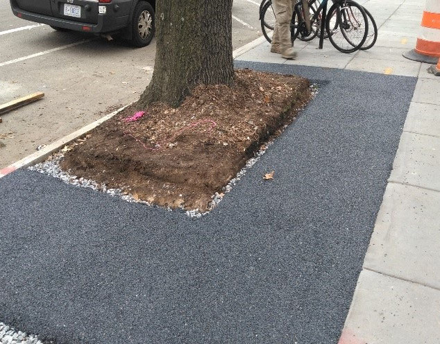 The porous flexible pavement placed at 1630 14th Street NW