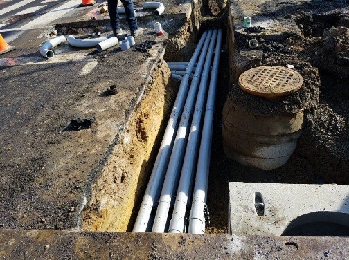 """Installation of 4"""" PVC Conduit between MH66 to MH68 on T Street"""