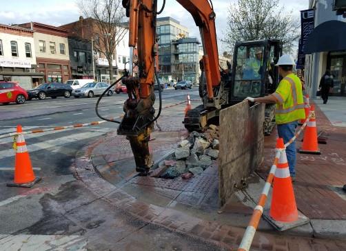 Demo of sidewalk for installation of manhole NE corner of Rhode Island Ave