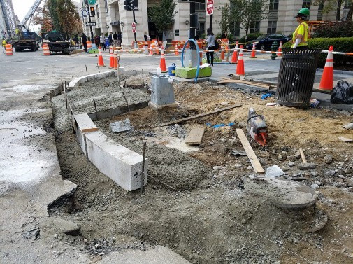 Installation of Granite Curb for Bulb Out at NW Corner of N Street