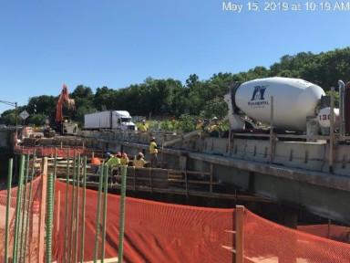 Concrete placing in bridge 1017 abutment