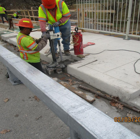 Drilling for Historic Railing Anchor