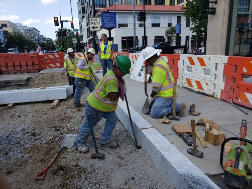 Straight Granite Curb install at 14th St. NW & R Street