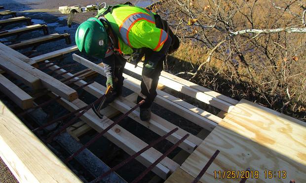 Forming North Bridge Overhang Formwork.