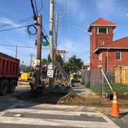 Excavation of old sidewalk and ADA ramp at MLK & Esther St, SE