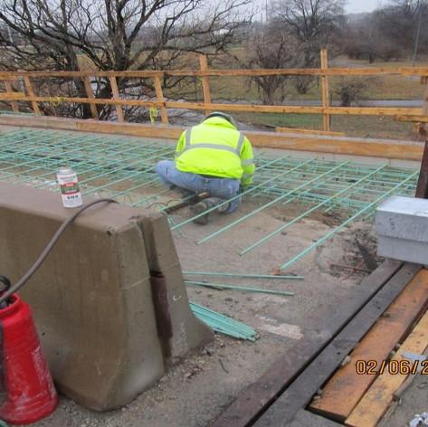Installing Sidewalk Rebar, North Bridge.