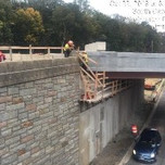 Forming Bridge NW cheek wall on bridge 1016.