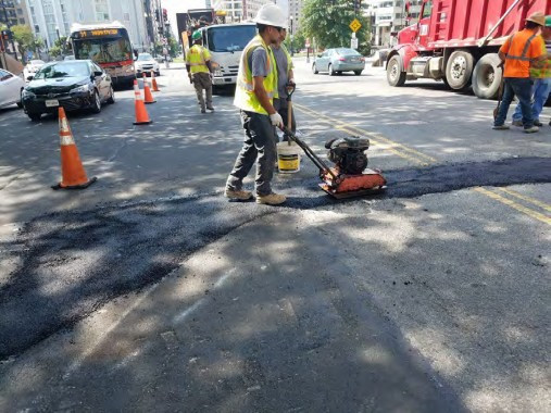 Placement of Temporary Asphalt over Laterals between Thomas Circle and N Street