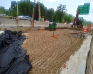 """Geotextile incidental to 57"""" stone placement and finished grade of GAB for testing on Bridge # 1017 over I-295 SB"""