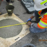 Measuring SCC Concrete Flow for Pedestals, South Bridge.
