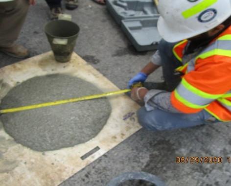 Measuring SCC Concrete Flow for Pedestals, South Bridge.
