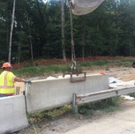 Setting PCC barrier wall on NB-295 between sta. 10+60 and 11+00, right of Baseline
