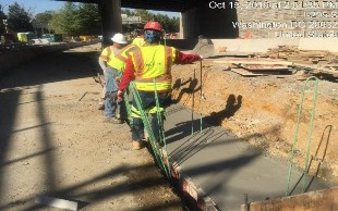 Concrete placed in PCC barrier footer