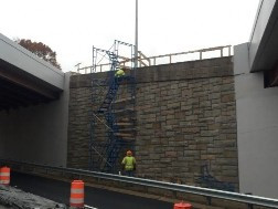 Dismantling scaffold between bridges 1016 and 1017 to access NB and SB -295