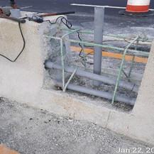 Median Barrier Streetlight Pole Foundation Reconstruction, East Approach.