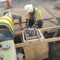 Omni forming the footer for the traffic signal/light pole at T Street & 14th Street NW