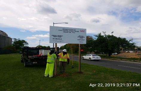 Installing Federal Aid Sign, WB