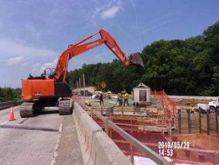 Placing concrete in Bridge 1016 abutment A