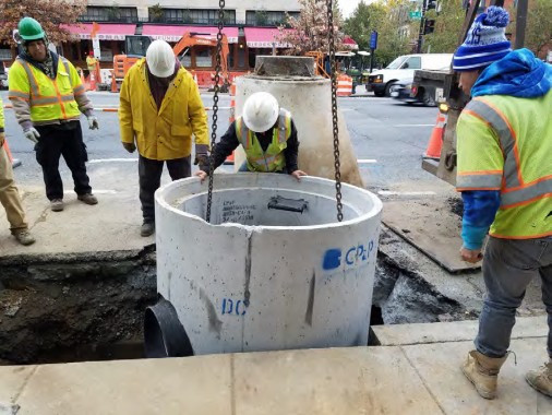 Installation of Combined Sewer manhole at the near 14th and Q Street