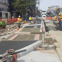 Bus island work at NWC of T Street