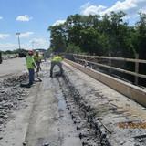Hand demolition of parapet, South Bridge.