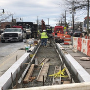 Median work at median between Raleigh St to 5th St.