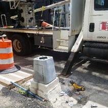Transformer base installed at traffic signal TS-56