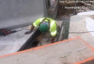 Installing forms for deck extension Bridge 1016 abutment A
