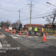MOT setup for electrical conduits trenches activities at Milwaukee and MLK