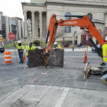 Demoliation of pavement for conduit installation between Thomas Circle and N Street on the Eastside