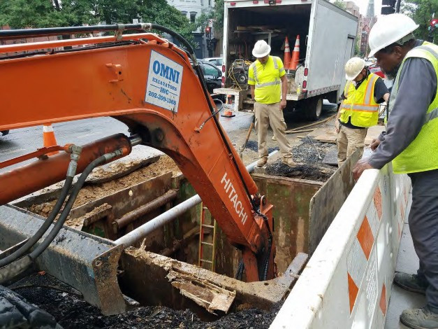 Excavation for Combine Sewer Manhole at Rhode Island Ave on the Westside