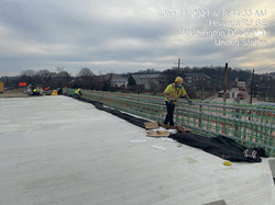 Howard Road Bridge-installing electrical conduit in the Phase 4 parapet wall