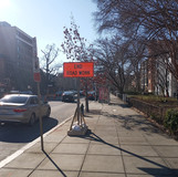 End work sign at 16th and U St NW