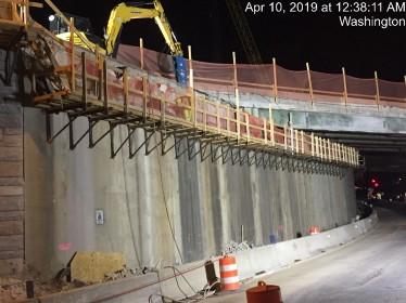 Demolishing existing backwall on Bridge 1017 Abutment A