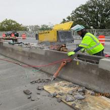 Repairing Median Barriers, North Bridge.