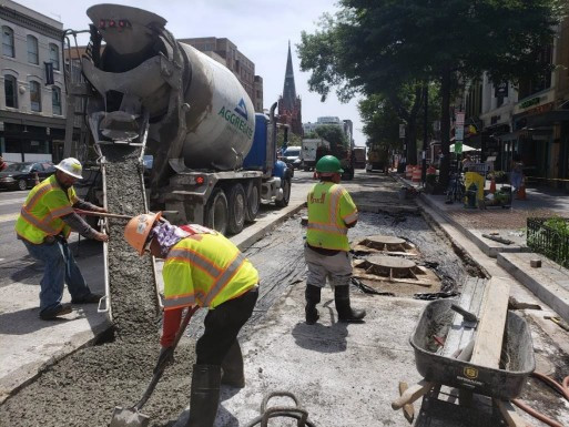 PCC pour on SB lane of 1300 block of 14th St. NW