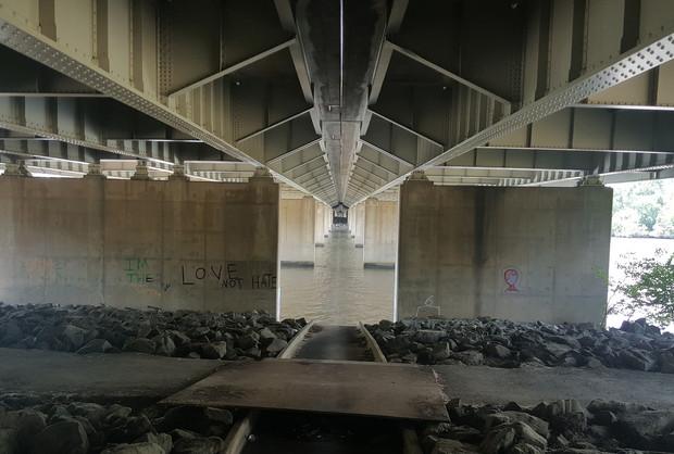 Underside of the Bridge Looking West