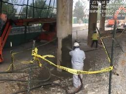 Shotcrete application on bridge 1017 column 3