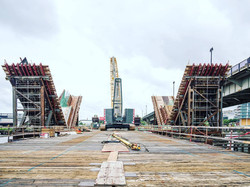 Partially completed V-Piers