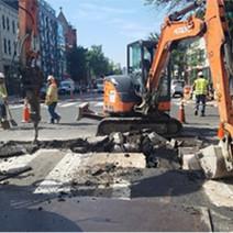 Omni excavating at southbound travel lane from Sta. 0+43 water main location