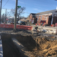 Excavation for PCC and pervious sidewalk, curb and gutter at Alabama and 5th
