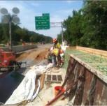 Panel installation for Moment Slab Parapet Wall on AFW Bridge # 1017 over I-295 SB