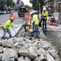 "DEN excavated Exisitng PCC 10"" Concrete & placed Aggregate Base (GAB) compacted, then placed PCC Base at SWC of 14th & V St. NW."