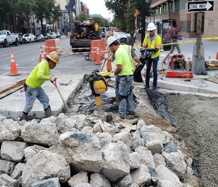 """DEN excavated Exisitng PCC 10"""" Concrete & placed Aggregate Base (GAB) compacted, then placed PCC Base at SWC of 14th & V St. NW."""