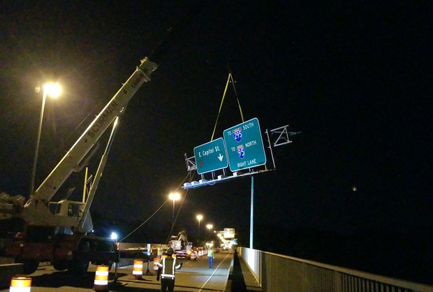 Removing Overhead Signs Along the Eastbound of the Bridge