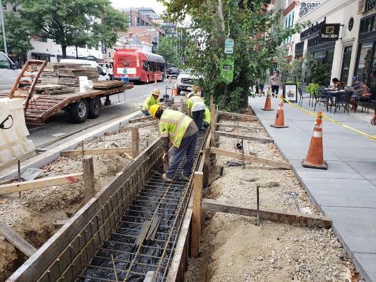 DEN installing re-bar for slot drain installation along 1821 14th St. NW