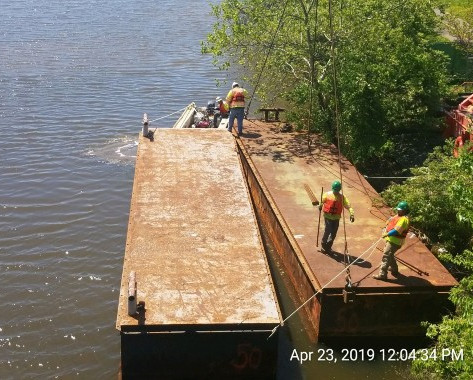 Loading Barges into the Anacostia River, South west side of Bridge